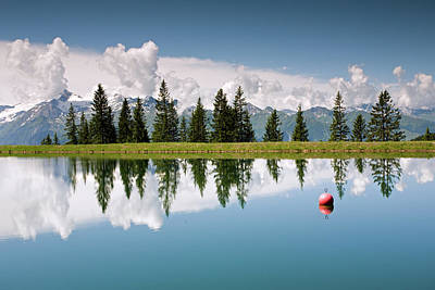 Photograph - Mountain Lake And Firs With Reflection On Schmittenhohe Zell Am See Trail by Aivar Mikko