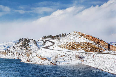 Photograph - Mountain Lake And Road In Winter by Marek Uliasz