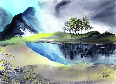 Painting - Mountain Lake by Anil Nene