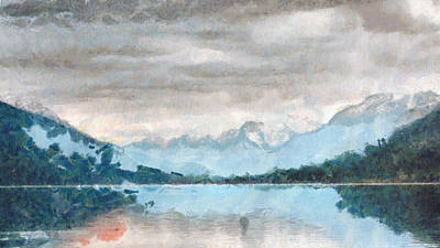 Painting - Mountain Lake Art Landscape Painting by Wall Art Prints