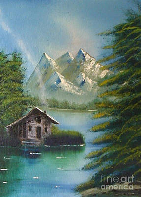 Painting - Mountain Lake Cabin by Marianne NANA Betts
