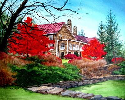 Painting - Mountain Lake Hotel In Fall by Anita Carden