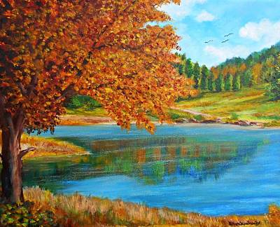 Painting - Mountain Lake In Greece by Constantinos Charalampopoulos