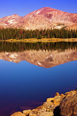 Print featuring the photograph Mountain Lake Reflections by John De Bord