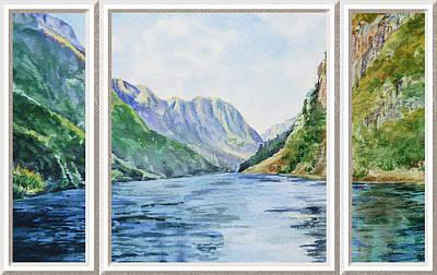 Mountain Lake View Window  Art Print
