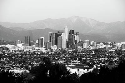 Photograph - Mountain Landscape And The Los Angeles Skyline - Black And White by Gregory Ballos