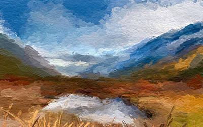 Mixed Media - Mountain Landscape by Anthony Fishburne