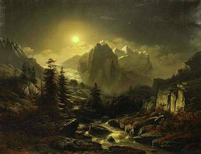 Painting - Mountain Landscape By Night  by Jacob Johan Verreyt