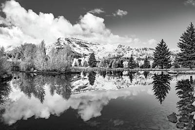 Photograph - Mountain Landscape Reflections - Aspen Colorado Snowmass Village - Monochrome by Gregory Ballos