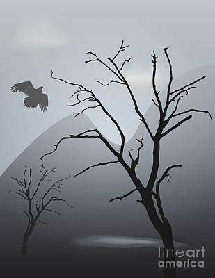 Dave Digital Art - Mountain Landscape With Bird by David Gordon