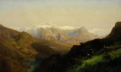 Mountain Landscape With Cattle Art Print by Hermann Herzog