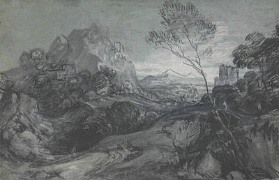 Landscape With Figure Drawing - Mountain Landscape With Figures And Buildings by Thomas Gainsborough