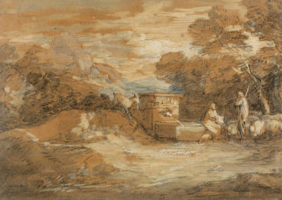Mountain Landscape With Figures Sheep And Fountain Art Print by Thomas Gainsborough