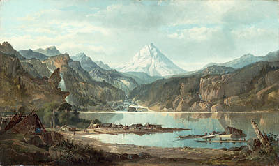 Snow Capped Mountains Wall Art - Painting - Mountain Landscape With Indians by John Mix Stanley