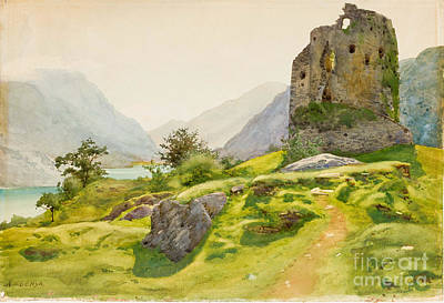 Watercolour Painting - Mountain Landscape With Ruin by Celestial Images