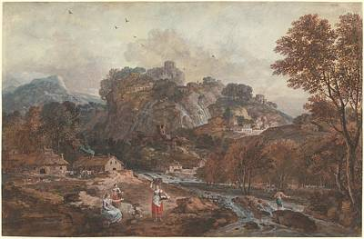 Wash Drawing - Mountain Landscape With Washerwomen And A Fisherman by Francesco Zuccarelli