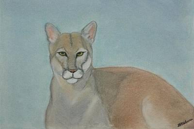 Mountain Lion - Pastels - Color - 8x12 Art Print by B Nelson