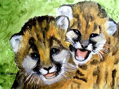 Painting - Mountain Lion Cubs by Carol Grimes