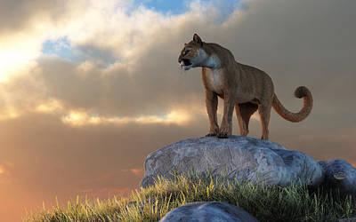 Digital Art - Mountain Lion by Daniel Eskridge