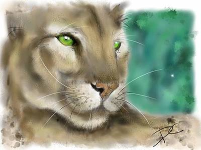 Art Print featuring the digital art Mountain Lion by Darren Cannell