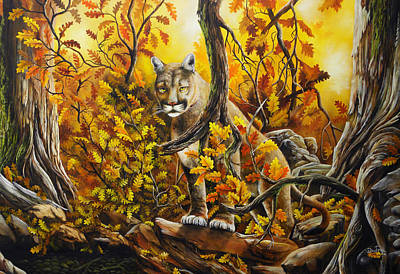 David Paul Painting - Mountain Lion In Fall Leaves by David Paul