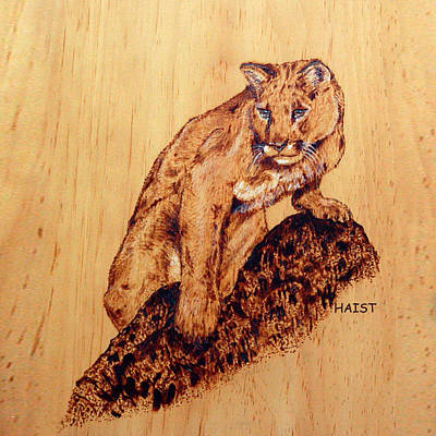 Pyrography - Mountain Lion Pillow/bag by Ron Haist