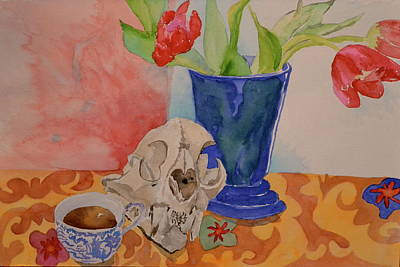 Art Print featuring the painting Mountain Lion Skull Tea And Tulips by Beverley Harper Tinsley