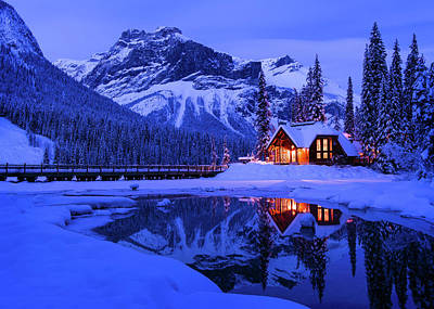 Photograph - Mountain Lodge At Dusk by Michael Blanchette