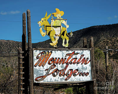 Photograph - Mountain Lodge Sign by Stephen Whalen