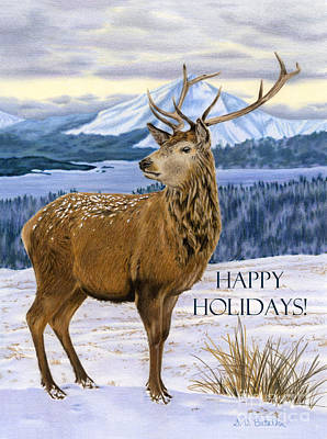 Deer Drawing - Mountain Majesty- Happy Holidays Cards by Sarah Batalka