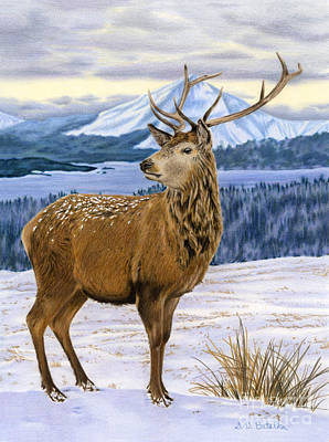 Reindeer Painting - Mountain Majesty by Sarah Batalka