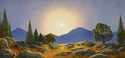 Painting - Mountain Meadow In Moonlight by Frank Wilson