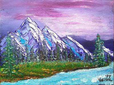 Mountain Meadow Landscape Scene Art Print