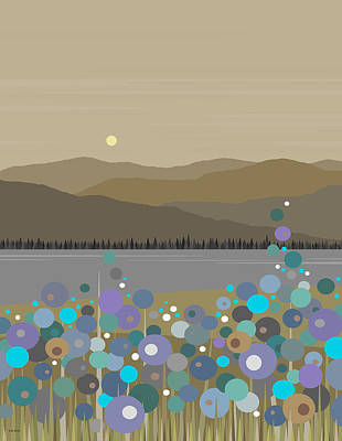 Mountain Meadow Morning Print by Val Arie