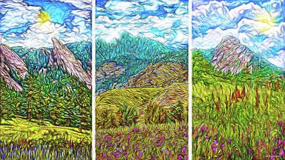 Digital Art - Mountain Meadow Visions - Triptych by Joel Bruce Wallach