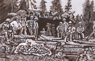 Painting - Mountain Miners Historical Vignette by Dawn Senior-Trask