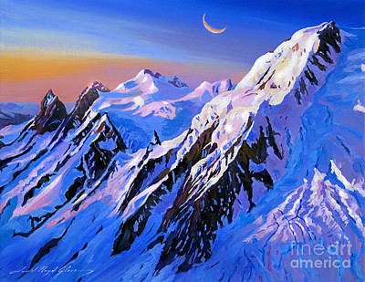Snow Covered Mountains Painting - Mountain Moon Summit by David Lloyd Glover