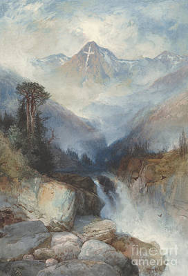 Rocky Drawing - Mountain Of The Holy Cross by Thomas Moran