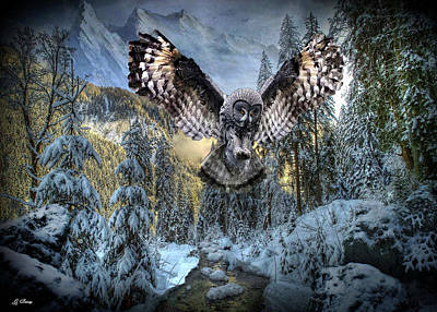 Trees In Snow Mixed Media - Mountain Owl by G Berry