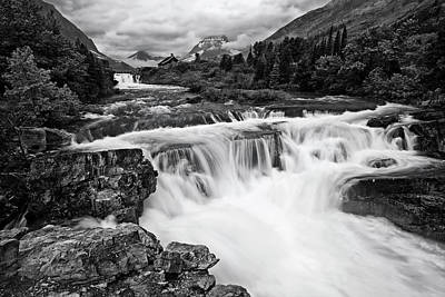Waterfalls And Trees Landscape Photograph - Mountain Paradise In Black And White by Mark Kiver
