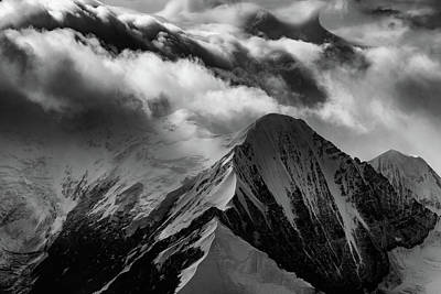 Snowy Brook Photograph - Mountain Peak In Black And White by Rick Berk