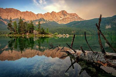 Photograph - Mountain Peak Zugspitze. Summer Day At Lake Eibsee Near Garmisch Partenkirchen. Bavaria, Germany by Marek Kijevsky