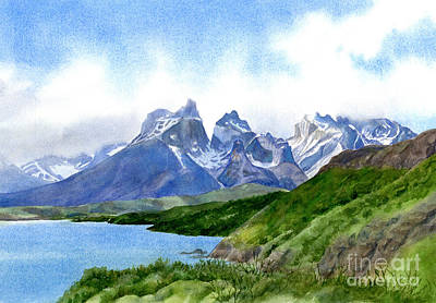 Glacier National Park Painting - Mountain Peaks At Torres Del Paine by Sharon Freeman