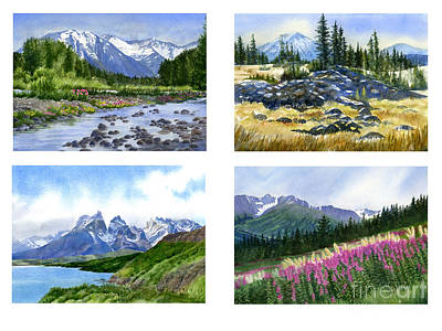 Fireweed Painting - Mountain Peaks Poster by Sharon Freeman