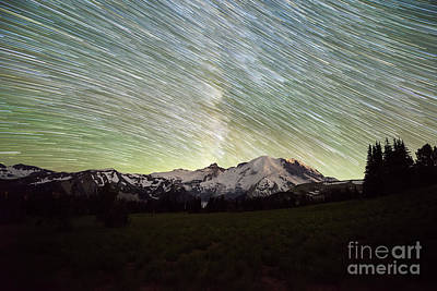 Photograph - Mountain Rainier Star Trails  by Michael Ver Sprill