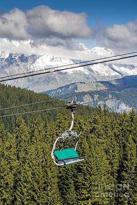 Fir Trees Photograph - Mountain Range And Ski Lift by Bernard Jaubert