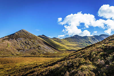 Art Print featuring the photograph Mountain Range And Valleys In Kerry In Ireland On A Sunny Day Wi by Semmick Photo
