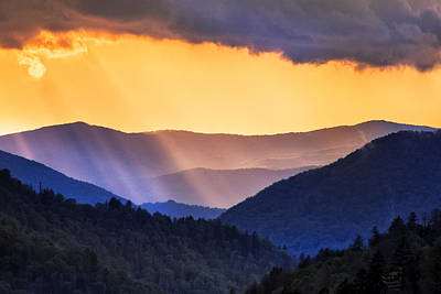 Smokies Photograph - Mountain Rays by Andrew Soundarajan