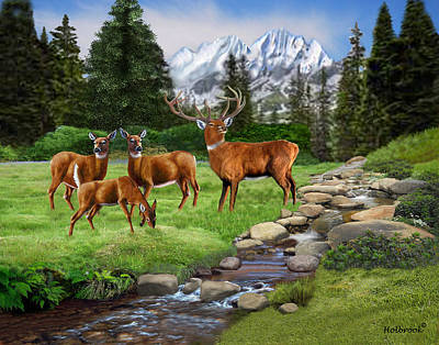 Digital Art - Mountain Red Deer Safari by Glenn Holbrook