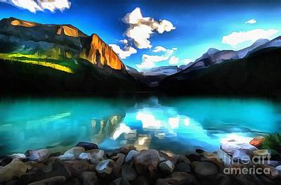 Broadcast Painting - Mountain Reflection by Catherine Lott